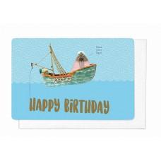Wenskaart met schip - Happy birthday (1888)